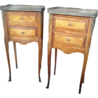 Pair of antique 19th c  French tables / nightstands with bronze mounts