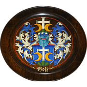 Hand painted Black Forest heraldic crest plate
