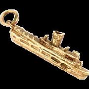 14k Gold Steam Ship Boat Charm Pendant 3 D Vintage