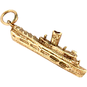14k Gold Steam Ship Boat Charm Pendant  Nautical 3 D Vintage