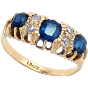 Victorian Ring 18 Kt Sapphire and Diamond Size 7.75