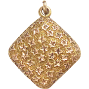 14 Kt Rose Gold Ivy Locket Pendant Friendship Ivy Leaf Square Antique