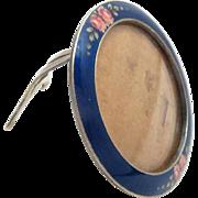 """Picture Frame Sterling Silver Enameled Vintage 1.75"""" diameter"""