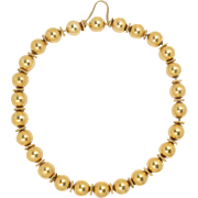 18 Kt Yellow Gold Large Heavy Bead Necklace Etruscan Revival Roundels
