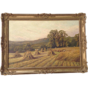 Landscape Painting of Harvest, Oil on Canvas by M. Corper 1893