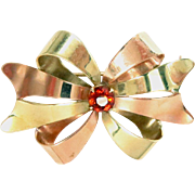 """14 Kt Bow Pin Brooch Pink and Yellow Gold Topaz Citrine 1.5"""""""