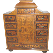 "Miniature Furniture Chest Marquetry Inlaid Dutch Antique 25¼""H, 20""W, 10""D"