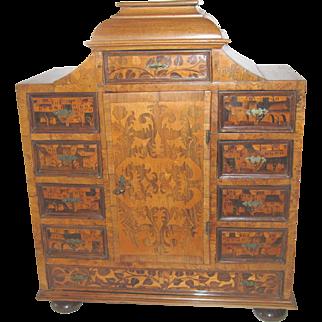 "Miniature Furniture Chest Marquetry Inlaid Dutch Antique 25¼""H, 20""W, 10""D"