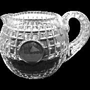 "Antique Stevens & Williams Cut Crystal Pitcher Golf flag 5"" H"