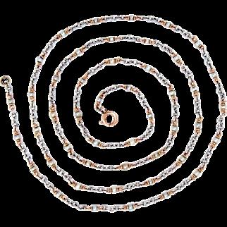 "Chain Necklace Platinum 14Kt Solid Gold Link Natural Pearls Edwardian 31"" L"