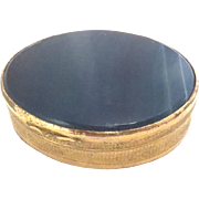 Antique Pill orTrinket Box Brass with Blue Agate Vintage 19th C