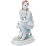 "Zsolnay Porcelain Nude Girl Figurine Hungary Vintage 8.5"" H Signed"