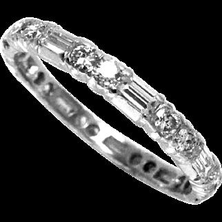 Vintage Diamond Platinum Eternity Wedding Band Ring 1.5 Ct Size 7