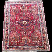 Antique Persian Sarouk Lilihan Bidjar Oriental Rug 3.5' x 4.75' 1900s
