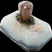 Antique Agate Desk Top Paper Weight Garnet
