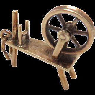 14 Kt Gold Charm Spinning Wheel movable 3 D Vintage
