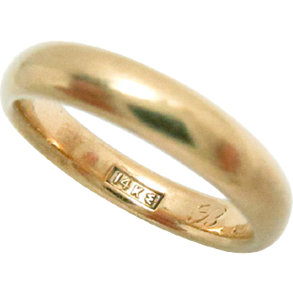Wedding Eternity Band 14Kt Yellow Gold Size 7, 4 mm W Vintage 4.6 g