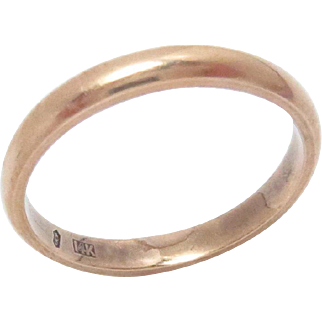 14Kt Pink Rose Gold Wedding Eternity Band Size 7.75 3 mm W Vintage 3 g