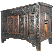 Medieval Storage Chest Coffer Blanket Box Trunk. Dated 1646