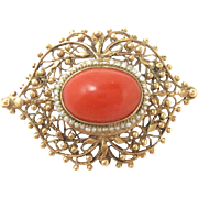 14 Kt Gold Pin Brooch Pendant Red Coral Victorian Revival