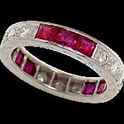 Vintage Wedding Band Ring Platinum Ruby Diamond Size 4.5
