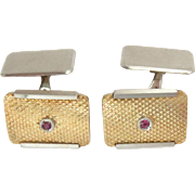 Estate Cuff-links 18 K Yellow & White Gold Ruby Vintage
