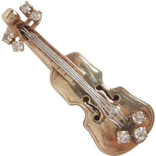 14 Kt Yellow and White Gold Violin Pin Brooch with Diamonds Vintage