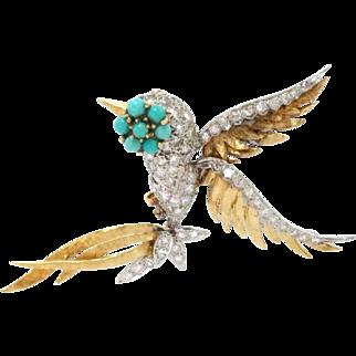 Bird Pin Brooch Platinum 18Kt Gold Turquoise, Diamond Vintage Retro 1.25ct
