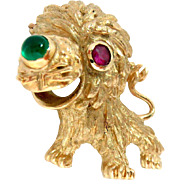 "Pin Brooch 14 Kt Yellow Gold Lion Cub 1950s Ruby Onyx Vintage 1"" x 1.25"""