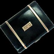 Cigarette Case 14 Kt Gold Sterling Silver Enameled Vintage Art Deco 72 g