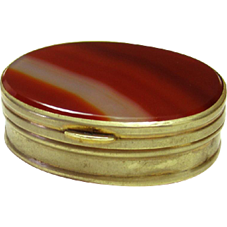 Pill Snuff Trinket Box Brass with Scottish Agate 19th C Antique