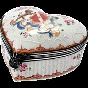 Antique Heart-shaped Porcelain Box Coat of Arms