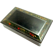 Victorian Black Papier-mache Snuff Keepsake Pill Trinket Box Antique