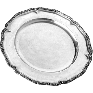 "Silver Tray Austro-Hungarian Round Vintage 13.25"" diameter 930 g"