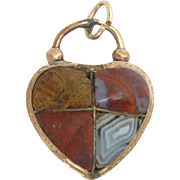 """Scottish Agate 9 Kt Rose Gold Padlock Charm Clasp Heart Victorian Antique 1"""" H"""