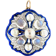 14 Kt Gold Pendant Enamel Diamond Pearl Moon Stone Antique