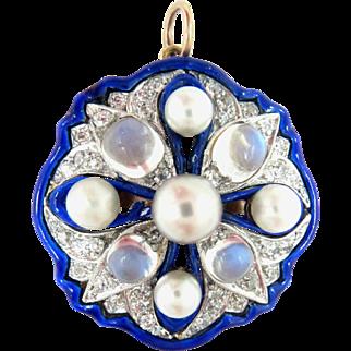14 Kt Gold Pendant Enamel Diamond Pearl Moon Stone Antique