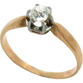 18Kt Gold Ring Diamond Engagement Solitaire Yellow Gold 0.35ct Vintage Antique