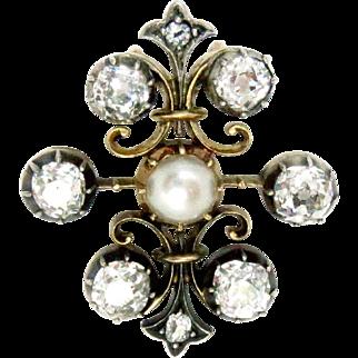 Edwardian Pendant Pearl and Diamonds Fleurs-de-Lis