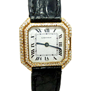 Cartier Ceinture 18ct Gold Ladies Vintage Watch with diamonds - C1970s