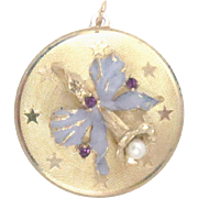 "14Kt Gold Charm Pendant Pearl, Amethyst and Enamel 1.25 "" diameter 7.9 g Vintage"