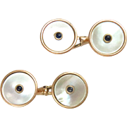 14 Kt. Yellow Gold Cuff-Links Mother of Pearls Sapphires Vintage Estate 1930s