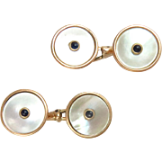 Vintage Cufflinks 14Kt. Yellow Gold Mother of Pearls Sapphires