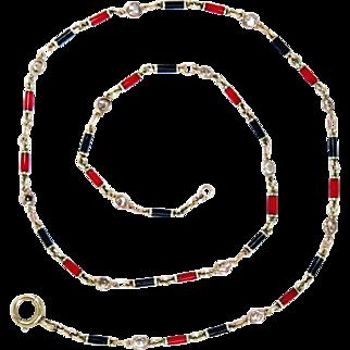 "14 Kt Chain Necklace Enameled Diamond Vintage 1.20 ct 8.7 g, 17.5""L"