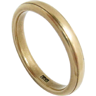 14Kt Yellow Gold Wedding Eternity Band Size 7, 3 mm W Vintage 3 g