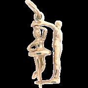 """14 kt Gold Charm Pendant Ballerina Dancing Couple Pair 3 D Vintage 6/8"""" H"""