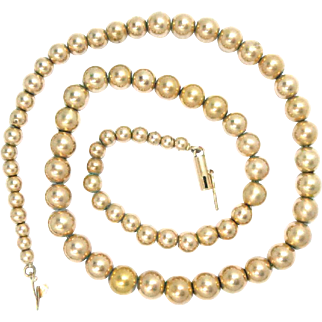 "Gold Ball Beads Necklace 14 Kt Yellow Gold Estate Vintage  16"" L, 22.3 g, Beads 3.5 to 7 mm"