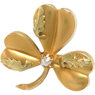 18 Kt Slide Buckle Pendant Charm 2 Tone Gold Art Nouveau Shamrock Pearl Antique