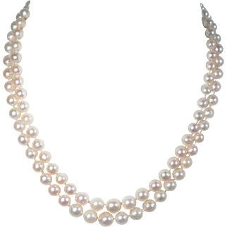 """Akoya Cultured Pearl Necklace 14 K Diamond Clasp Double Strand Vintage 17"""" L, 5.5 mm-8.5 mm"""