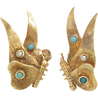 18 Kt Yellow Gold Earrings Butterfly Turquoise Vintage